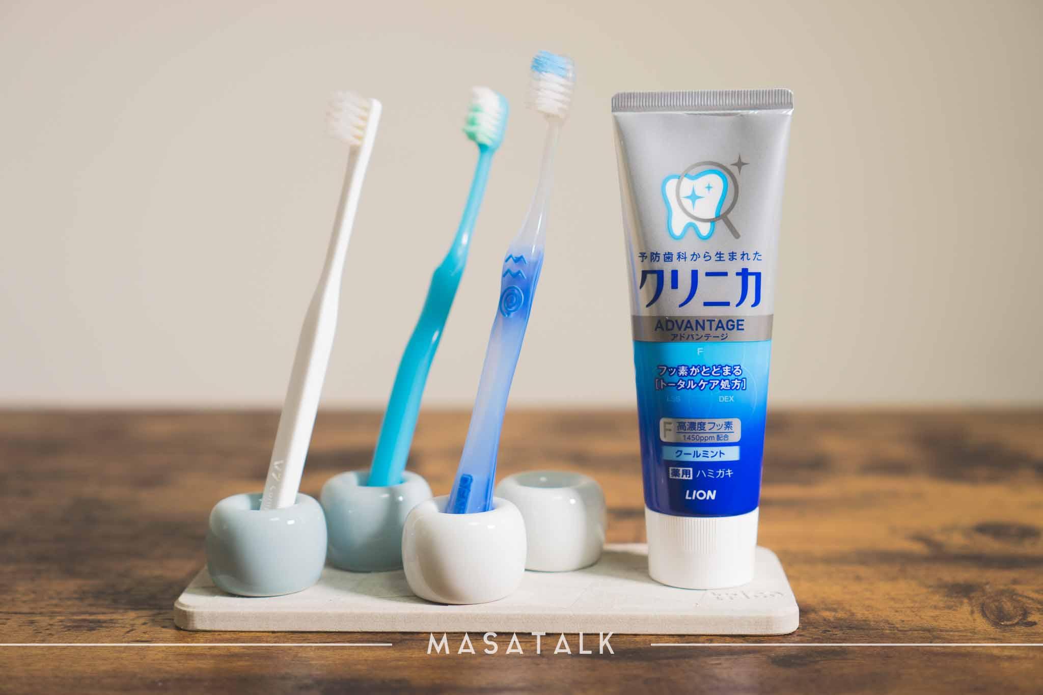 水がたまらない衛生的な歯ブラシ置き「珪藻土トレイ」と「無印の歯ブラシスタンド」の組み合わせ