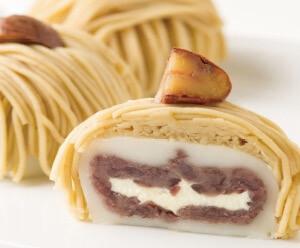 和菓子に洋菓子乗せちゃいました「大人のモンブラン大福」